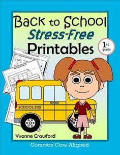Back to School No Prep Printables for 1st grade - $