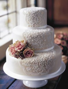 taupe cake and lace appliqué-replace flowers with plum and cream flowers
