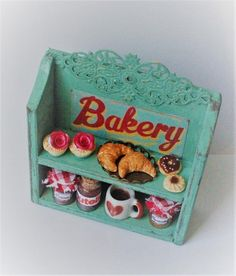 Handmade green Bakery shabby chic wood shelf with cupcakes,jam,croissant,coffee,biscuits display-miniature dollhouse in 12th scale-furniture