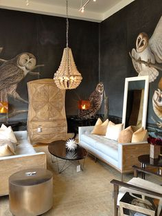 Dynamic Owl Room with Fabulous painted walls, neutral color palette with metallic accents, interesting furnishings and lighting.