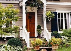 Awesome steps.  Container plants.  Front Door.