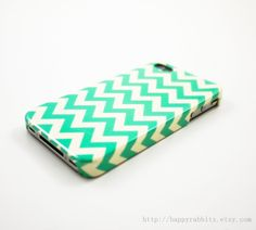 Mint Chevron iPhone 4 Case, iPhone 4s Case, iPhone 4 Cover, Hard iPhone 4 Case.