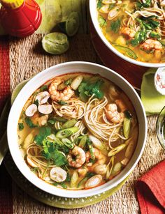 This Tom yum noodle soup is packed with crunchy fresh veg and tender prawns. A simple, restorative supper on the table in 30 minutes. Fish Recipes, Seafood Recipes, Asian Recipes, Soup Recipes, Cooking Recipes, Healthy Recipes, Thai Recipes, Healthy Meals, Prawn Noodle Recipes