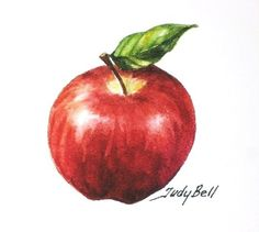 Red Apple Fruit Print Of Watercolor Painting. $12.00, via Etsy.