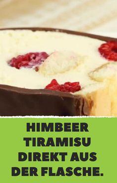 Himbeer Tiramisu direkt aus der Flasche. Parfait, Food And Drink, Pudding, Desserts, Recipes, Gelee, Milk, Cake Ideas, Dessert Ideas