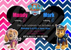 PAW PATROL Lots of Designs Custom Printable Invitation birthday party double skye chase photo digital https://www.etsy.com/listing/222584853/paw-patrol-lots-of-designs-custom?ref=shop_home_active_24