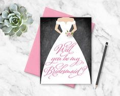 Printable Will You Be My Bridesmaid    Wedding Dress HandLettered : Maid of Honor, Matron of Honor, Flower Girl   No. PW2121 by weddingsource on Etsy https://www.etsy.com/listing/262919695/printable-will-you-be-my-bridesmaid