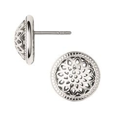 Give your daytime look an elegant update with our Timeless Domed Stud Earrings. Specially crafted in sterling silver with a bespoke dome finish, they are the perfect pair of earrings to effortlessly take you from desk to dinner. With its distinct cut-out design inspired by Londona€™s a€?Big Bena€™, the truly modern style looks best when styled with a matching necklace from the Timeless collection.