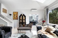 For more unique decor inspiration find us on IG Oversized Mirror, Lounge, Couch, Interiors, Interior Design, Unique, Inspiration, Furniture, Home Decor