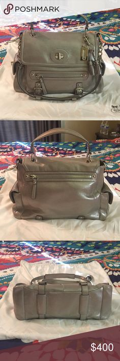 """Coach Sydney LE Metallic Silver Turnlock Tote 100% Authentic. Used once. Coach patch creed with serial number K0968-14616. Stunning bag with extra zippers and compartments for organization. Dust bag included. 15""""L x 11""""H x 5.5""""W. Coach Bags"""