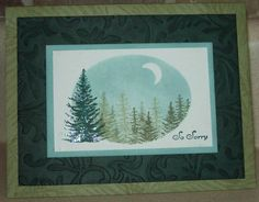 """By 2Tibetans at Splitcoaststampers. Stamp & sponge inside an oval die-cut with crescent moon masked. Could use stamps from Stampin' Up's """"Lovely as a Tree"""" set."""