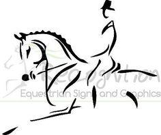 Horsebox / trailer sticker decal HORSE DRESSAGE Line art graphics | eBay