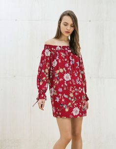 flowers and text print dress. Discover this and many more items in Bershka with new products every week