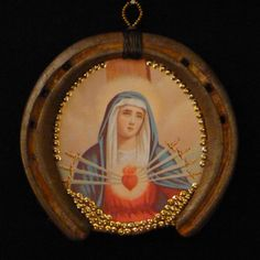 Wall Art: Honoring the Sacred Heart of the Seven Sorrows Virgin Mary Blessed Mother. Horseshoe 9