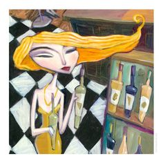 """Choosing a Wine"". 3D Art Construction Graphic by Charles Kaufman.  #wine #blondehair #blonde #winebottle #winetasting #wineart #face #painting #woman #hair #beauty #yellow #portrait #artschool #artideas #newart"