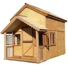 x 6 ft. Little Alexandra Cottage with Loft and Covered Front Porch at The Home Depot - Mobile Cedar Playhouse, Playhouse Kits, Build A Playhouse, Castle Playhouse, Kids Playhouse Plans, Backyard Playhouse, Backyard Playground, Mini Loft, Exterior Grade Plywood