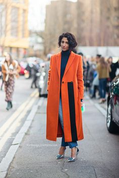 Awesome colors here: deep orange, navy, and metallic silver // #StreetStyle