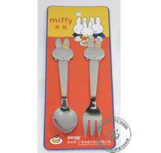 Dick Bruna Miffy Baby Stainless Steel Fork+Spoon Set flatware tableware for Kids