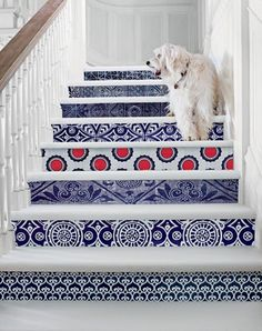Love these stairs! I might try and recreate something similar on basement stairs using stencils. Serena and Lily spring cover. decor-inspiration