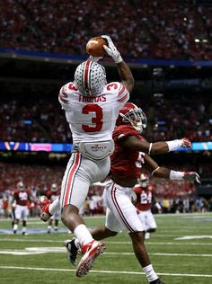 Alabama Crimson Tide vs. Ohio State Buckeyes - Photos - January 01, 2015 - ESPN -Michael Thomas #3 of the Ohio State Buckeyes catches a 13 yard touchdown pass late in the second quarter
