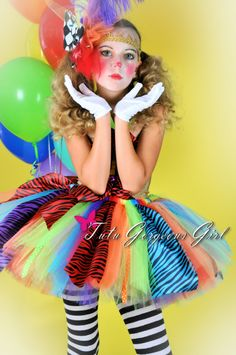 Girls Rainbow Clown Tutu...Halloween Clown by TutuGorgeousGirl
