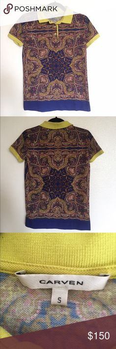 Carven Multicolor Paisley Printed Polo T-Shirt S Carven Multicolor Paisley Printed Polo T-Shirt. Size small. Contrast rib collar and rib sleeve cuffs. Front placket with (3) buttons for a comfortable fit. 100% polyester Carven Tops Tees - Short Sleeve