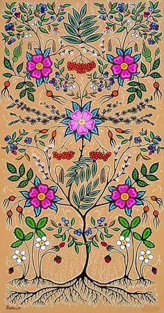 "Christi Belcourt :: ""Little Grandma"" Based on Tradition, Inspired by Nature.very nice.very very nice. Indian Beadwork, Native Beadwork, Native American Beadwork, Native American Art, Flower Images, Flower Art, Woodland Art, Indian Tapestry, Beadwork Designs"