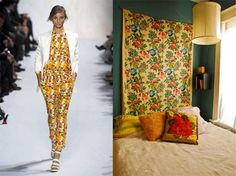 Design Cues from the Runway: Spring 2013 Fashion Inspiration. fabric headboard from happy go vintage!