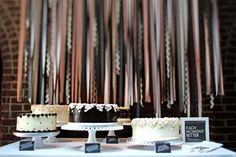 Dessert table with streamers but can use for a photo backdrop