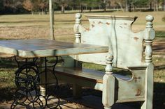 Repurposed Bench and Table by CLPearsonDesigns on Etsy