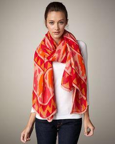 coral, ikatprint scarf, cloth, colors, callum ikatprint, dresses, oranges, scarves, neiman marcus