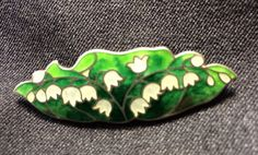 Vintage Sterling Silver Cloisonné Lilies of the Valley Brooch