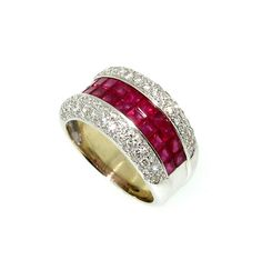 Wide Band Ruby Gemstone  Diamond Wedding Engagement Ring, Anniversary Ring, Cocktail Ring - $2800