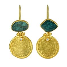 24 Karat Yellow Gold Earrings With Bezel-Set Blue Diamond Slice and Ancient Ottoman Coin Drop