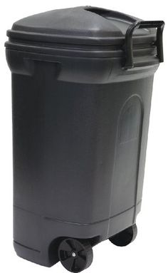United Solutions TB0010 Rough and Rugged Rectangular 34 Gallon Wheeled  Black Outdoor Trash Can with Hook&Lock Handle-Thirty Four Gallon Garbage Can with Locking Handles