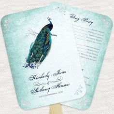 wedding ceremony program peacock design  diy printable