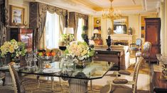 Royal Suite of the Four Seasons Hotel George V Paris is full of magnificent French antiques and are adorned with and fine art. Four Seasons Hotel, Paris Hotels, Disneyland Paris, Hotels And Resorts, Best Hotels, Fine Hotels, Most Luxurious Hotels, Luxury Hotels, Hotel Room Design