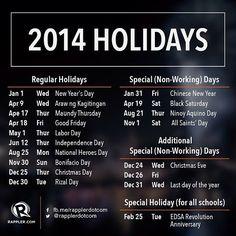 Philippine Holidays 2014