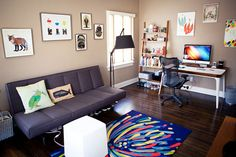Garrett Murray's LA Master Bedroom Home Office for 2 DeskTops | Apartment Therapy