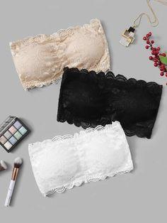 Shop Floral Lace Bandeau Bra Set at ROMWE, discover more fashion styles online. Bra Lingerie, Women Lingerie, Sewing Lingerie, Vintage Lingerie, Romwe, Lace Bandeau Bra, Lace Bralette, Bra Types, Sexy Bra