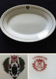 Lamberton China platter made for The John H. Murphy System that operated hotels, eating and news distribution system along the Chicago, Milwaukee and St Paul railroad.  Backstamp dates from 1911 - 1924.