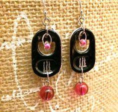 Energy Drink Earrings SODA TAB EARRINGS black and por FabTabulous