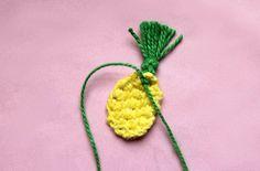 How to make Mini Crochet Pineapple Accessories - earrings or a lapel pin! Free crochet pattern