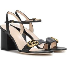Gucci Leather Sandals (€615) via Polyvore featuring shoes, sandals, black, high shoes, black shoes, leather footwear, gucci shoes, gucci sandals and gucci