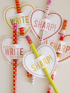 Free printable pencil Valentines / lemon squeezy