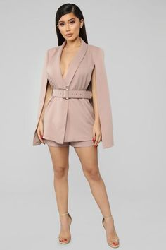Working Overtime Blazer Cape Romper - Mocha – Fashion Nova Office Dresses For Women, Casual Work Dresses, Sexy Dresses, Dresses For Work, Clothes For Women, Long Sleeve Work Dress, Midi Dress Work, Black Women Fashion, Girl Fashion