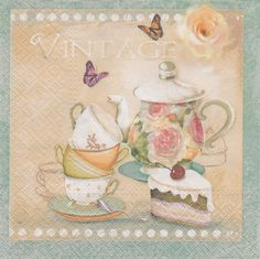 4x Single Table Paper Napkins for decoupage/vintage/teacup/pastries/1278 in Crafts, Cardmaking & Scrapbooking, Decoupage | eBay
