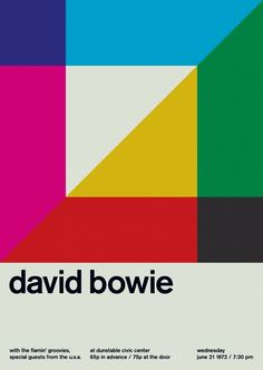 David Bowie at Dunstable Civic Centre Support from the Flamin' Groovies. Reimagined concert poster by designer Mike Joyce for his Swissted project, fusing rock music & swiss modernist design. Graphic Design Layouts, Graphic Design Projects, Graphic Design Posters, Graphic Design Typography, Graphic Design Illustration, Graphic Design Inspiration, Layout Design, Poster Designs, International Typographic Style
