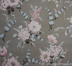 Vintage Wallpaper - Floral Wallpaper with Large Pink and Blue Flowers on… Grey Wallpaper Border, Pink And Grey Wallpaper, Vintage Wallpaper, Wall Wallpaper, Pattern Wallpaper, Wallpaper Ideas, Pink And Blue Flowers, Pink Blue, Vintage Drawing