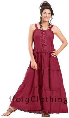 Ashlee Bohemain Ruffles Peasant Gypsy Cotton Corset Sun Dress - Dresses